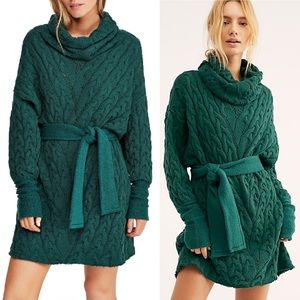 NWT Free People Love of Cables Sweater Dress Small